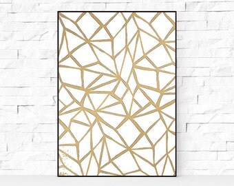 Gold Foil Prints, Wall Decor, Printable Art, Golden Print, digital download, Gold Foil Print, Gold Geometric Print, Gold Triangle