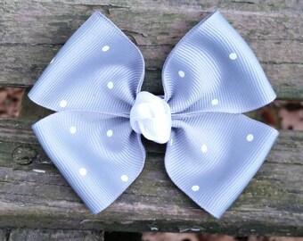 Gray Polka Dot Hair bow (3.5 inch).