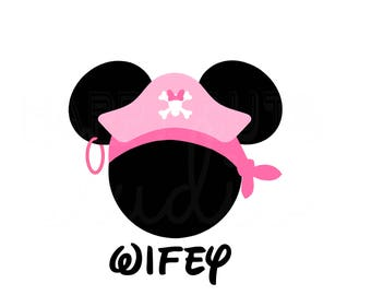 Personalized Pirate Bandana Minnie Mouse Wifey Matching Mother Daughter Family Disney Cruise Disney Iron On Decal Vinyl for Shirt 127a