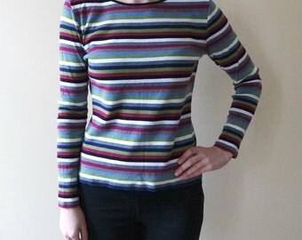 Vintage Women's Striped Top, Multicolor Striped T-Shirt, Longsleeves T-Shirt,  Size S/M