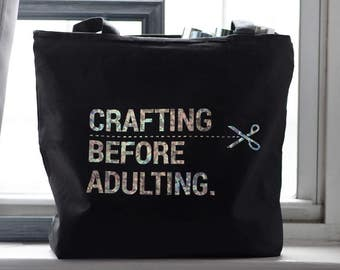 Zipper Canvas Tote Bag | Crafting Before Adulting - Sturdy Zipper Tote, Artist Tote, Art Tote, Craft Storage, Large Tote, Carryall