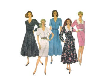 Simplicity 8533, 90s Sewing Pattern, Size 14 Women's V Neck Dress Button Down Dress Collared, Vintage Dress Lapels Dress