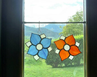 Flowers sun catcher orange and blue for home decor