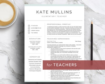 Teacher resume template for Word & Pages (1, 2 and 3 page CV template) | Resume for teachers | Educator cover letter | Instant download