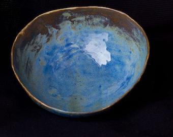 Blue glazed ceramic bowl