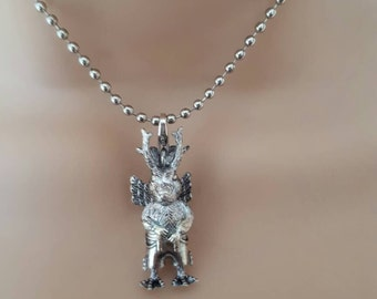 Wolpertinger pendant necklace charm small silver