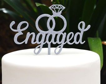 Engagement Cake Topper - Wedding Ring Cake Topper - Diamond Ring Cake Topper