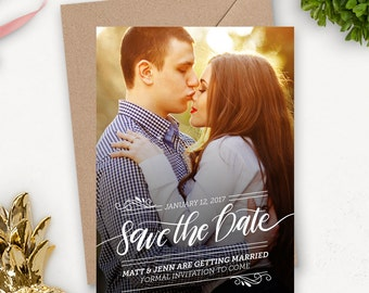 Photo Save the Date Postcard / Engagement Announcement / Printable Wedding Invitation / Modern Wedding Photo Card