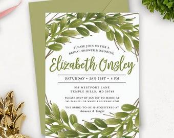 Greenery Bridal Shower Invitation Printable | Watercolor Bridal Shower Invitation Printable | Printable Wedding Shower Invites