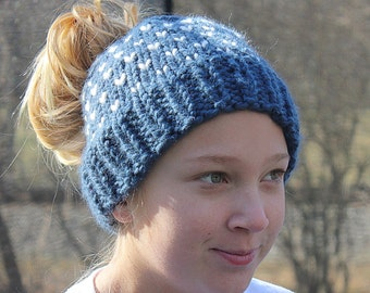 Girls Messy Bun Hat, Messy Bun Hearts Beanie, Tween Bun Hole Hat, Fair Isle Bun Beanie, Messy Bun, Bun Hole Beanie, Bun Hat Messy
