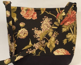 Black Botanical Print Crossbody Bag,  Handbag, Shoulder Bag, Everyday Purse, gift ideas for women
