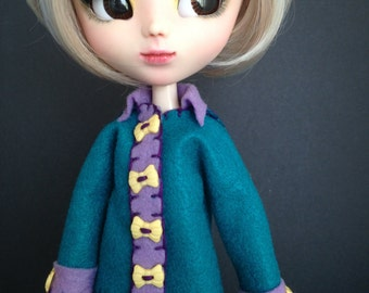 Teal Felt Coat (Pullip, Blythe)
