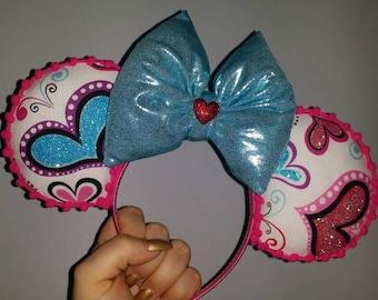 Mickey Ears, Minnie Ears, Mickey, Minnie, Mickey Mouse, Minnie Mouse, Valentine's Ears, Valentine's Day, Holiday themed Ears, Hearts
