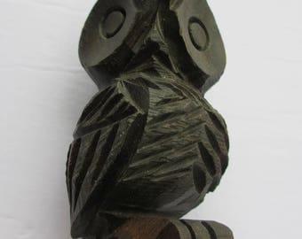 Folk Art Owl Hand Carved Wood Carving Ebony Bird Animal Scupture