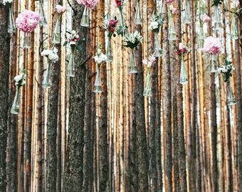 Rustic Flower Chandelier Printed Backdrop (WED-VS-010)