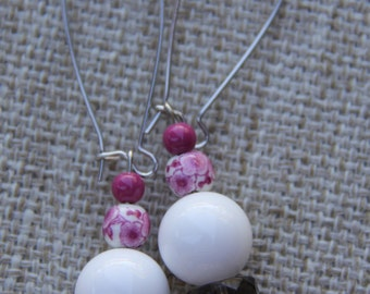 White pink round shell earrings ceramic carved shell summer fashion beach wear