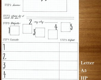 Make it Happen Goals Planner, Bullet Journal on Watermark Graph - PDF Sized for Letter, A5, Classic HP, and Personal