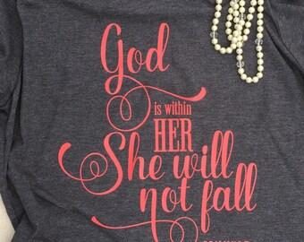 She Will Not Fall Shirt. Scripture Tee. Scripture Top. Inspirational Tee. Christian Shirt. Bible Verse Shirt
