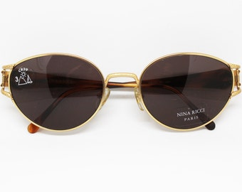 NINA RICCI mod: 3437 matte golden frame havana tortoise shell stone effect, Oval pantos sunglasses spectacles Made in France, Nos 80s