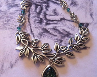 "Elven necklace ""Aurore Boréale"" tree branch blue beads"
