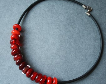 Red Glass Necklace - Juicy Rich Bright Red, Scarlet - Summer Jewelry - Lampwork - Handcrafted Beads - Red Gamma - Delicate - Elegant