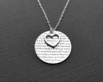 Anniversary Gift, 1st Anniversary Gift,  Personalized Gift For Her, Custom Necklace With Your Vows, Lyrics Or Words