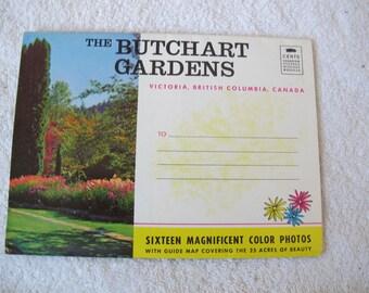 Vintage Butchart Gardens postcard (unposted) / oversize photo folder / souvenir postcard / Coast Publishing / folding photo postcard