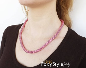 pink jewelry blush pink gift jewelry for her pink wedding rose necklace beach jewelry nautical jewelry summer necklace seed bead necklace