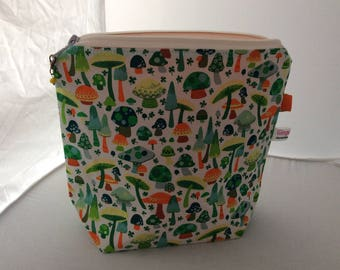 Toadstools and clover   project/tote bag (small)