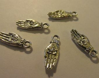 Tibetan Silver Buddha's Hand with Lotus Charm, 17mm, Set of 5
