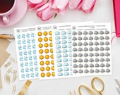 Kawaii Weather Planner Stickers - perfect for Erin Condren Life Planner, Kikki K, Happy Planner, Journal,  Filofax Planner, sun, rain