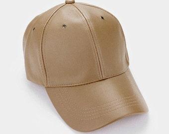 Tan Faux Leather Fashion Baseball Cap