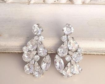Vintage Style crystal Earrings, Bridal stud sparkly earrings, statement earrings, Wedding swarovski cluster earrings, bridesmaid earrings