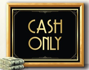 BAR SIGN CASH only sign, art deco, Great Gatsby, roaring 20s, party decoration, bar sign, wedding sign, party sign, wedding decoration 1920s