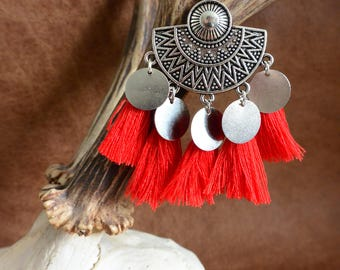 Ears Aztec pattern & PomPoms red, Tribal, Gypsy earrings