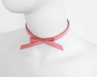 Leather pink choker, Leather pink collar, pink Chocker, pink bow