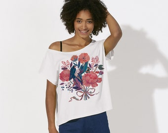 Bouquet of flowers / Printed Tee, Illustrated DTG T-shirt With Flowers and Birds