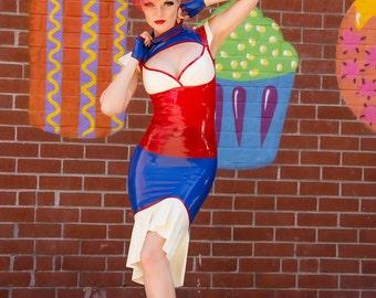 """CL Design Latex Fiftie's High Waist skirt """"Dazzling Sailor"""" with godet Rockabilly sexy rubber"""