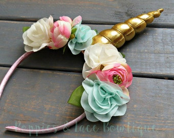 Gold Unicorn Floral Crown, Unicorn Headband, Floral Headband, Unicorn Birthday, Girl Birthday