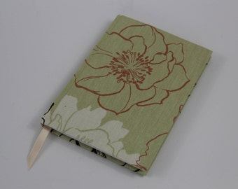 A5 Lined Notebook Hand Covered in a contemporary green floral Fabric