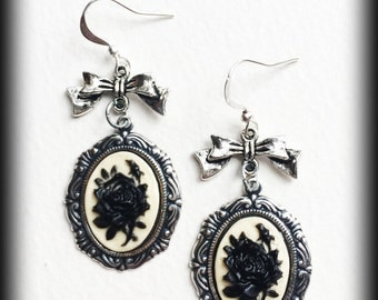 Gothic Victorian Earrings, Black Rose Cameo, Antique Silver, Gothic Jewelry, Gothic Gift, Alternative Earrings, Victorian Jewelry