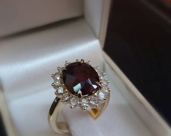 5.00 ct.Gold Ruby Ring 14k Yellow Gold,Diamond ring, Ruby Engagement Ring