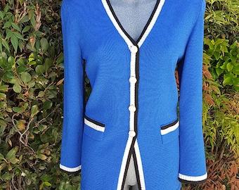 Vintage Cardigan Sweater, Button Up Classic Cardigan, Blue, Jewel Buttons, Knit Sweater, Wool & Rayon, Anjelia, Toula, 1990s Style, Size 10