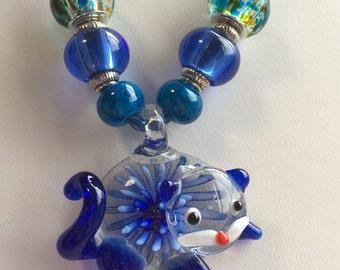 Blue Lampwork Murano Glass Cat Pendant Necklace