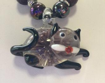 Black & Purple Lampwork Murano Glass Cat Pendant Necklace