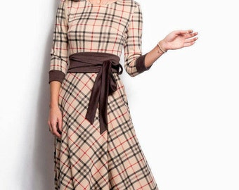 Jersey dress floor Maxi Dress long sleeve Spring dress womens Plaid Dress Casual Checkered dress Holiday Dress Plaid gown Chequered
