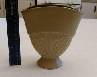 "vintage redwing 6.5"" ceramic fan vase 1960's belle line # 874 - yellow goldenrod and green pottery art planter flowers floral deco nouveau"