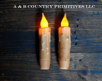 2/Set Battery Operated Timer Taper Candles, 4 inch, Grungy Wax Dipped LED candle, Primitive Decor, Country Decor, Country Craft Supply