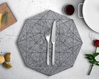 Hexagon Felt Placemat, Gray Fabric Placemat, Round Circle Table Linen, Geometric Circular Tablecloth, Nordic Scandinavian Minimal Decor