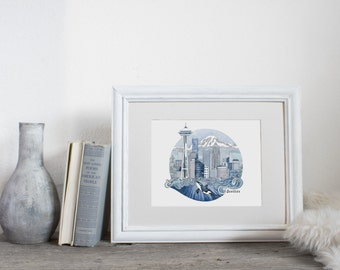 Seattle Watercolor Print, City Illustration,